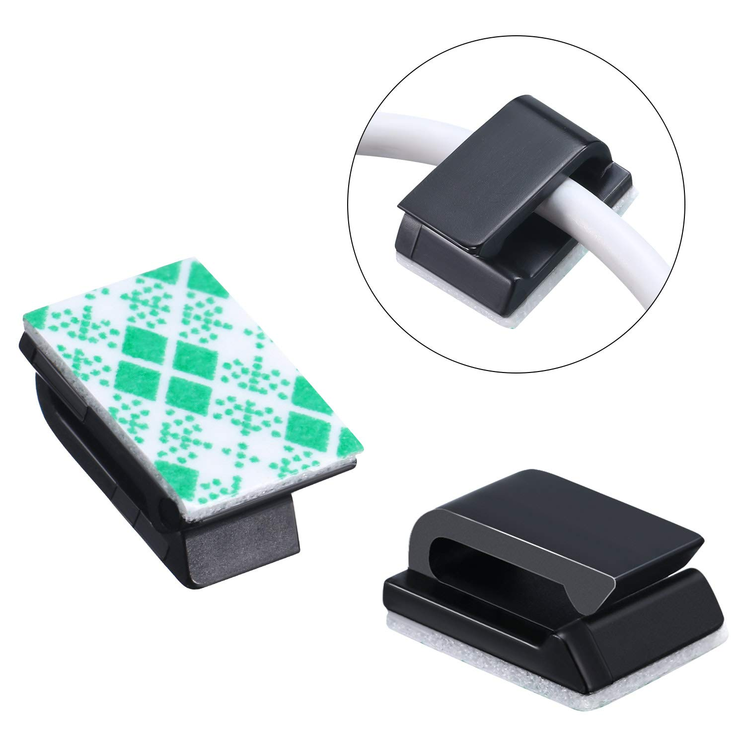 15.5 x 12.5 mm, White Office and Home Chuangdi 50 Pack Self-Adhesive Cable Clips Electrical Wire Clips Cable Management Clips for Car