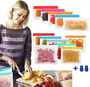 12 Pack Reusable Storage Bags, Thick Leakproof Freezer Bags( 7 Reusable Sandwich Bags and 5 Reusable Snack Bags) Ziplock Lunch Bags for Food Marinate Meat Fruit Cereal Milk (Multi-Color)