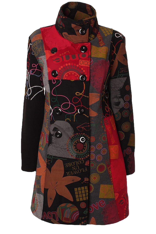 Damen Mantel Trenchcoat Herbst Patchwork Muster