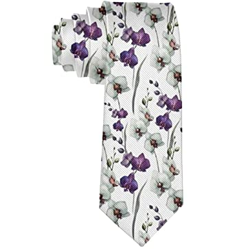 Patrones de flores púrpuras y blancas de negocios Corbata Skinny ...