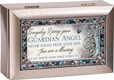Guardian Angel Jeweled Silver Finish Jewelry Music Box - Plays Tune Amazing Grace