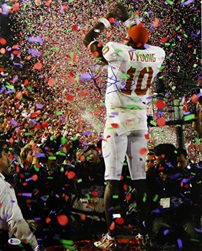 Vince Young Autographed UT Longhorns 16x20 Color TD Run vs USC Photo JSA W Auth Silver