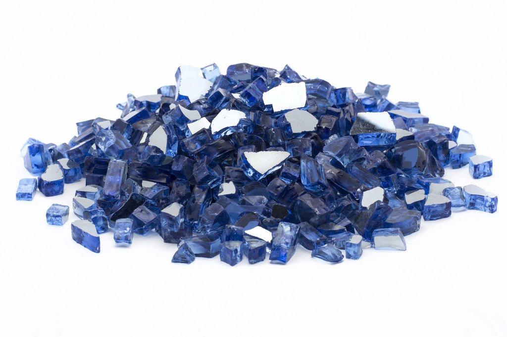 Dragon Glass DFG25-R02M, Cobalt Blue 1/2'' Reflective Fire Glass, 25 lb by Dragon Glass