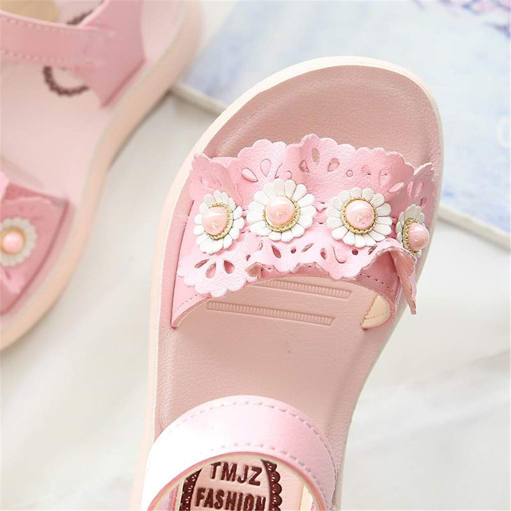 Fabal Girls Kids Casual Summer Beach Sandals Infant Floral Soft Soled Anti-Slip Shoes