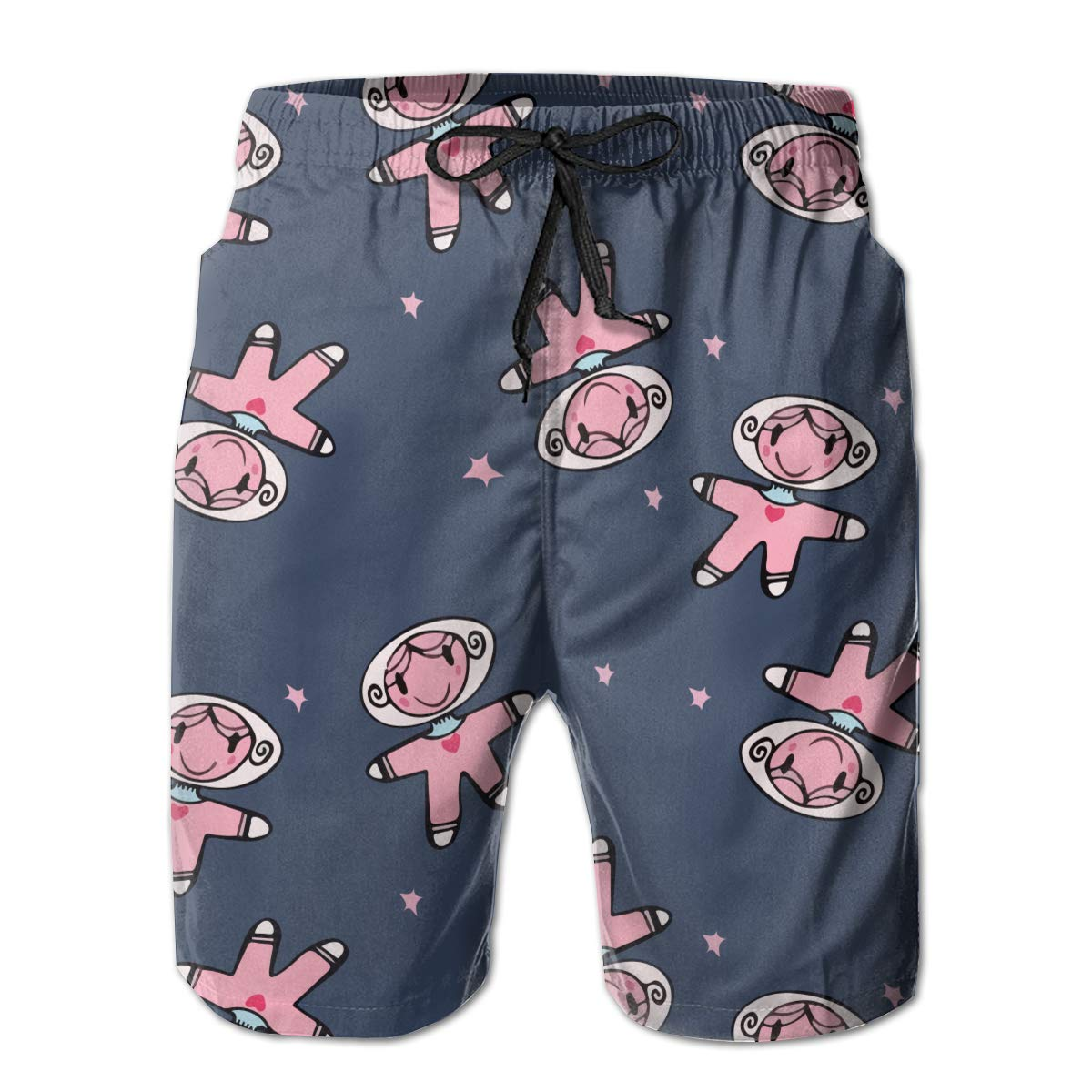 HZamora/_H Men Little Girl Dolls Adventure in Space Summer Breathable Quick-Drying Swim Trunks Beach Shorts Cargo Shorts XXL
