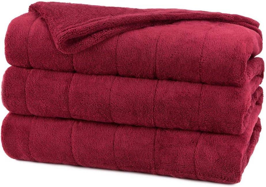 Sunbeam Channeled Microplush Heated Electric Blanket Full Walnut Overstock 72001630091