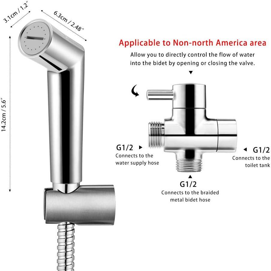 Dusch-Spr/üher-Windel-Spr/ühersatz f/ür Home-WC-Bidet mit 1,2 m Schlauch und Bidethalter-Haken Winbang Handbidet-Spr/üher