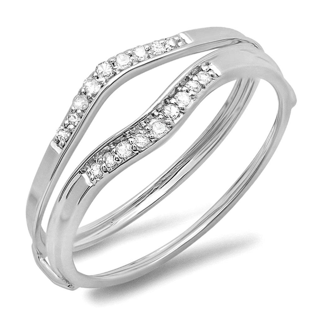 Dazzlingrock Collection 0.12 Carat (ctw) 10K Round White Diamond Ladies Enhancer Guard Wedding Band, White Gold, Size 7