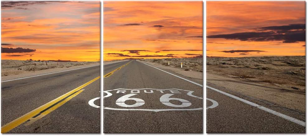 Visual Art Decor US Route 66 Sign Canvas Wall Art California's Mojave Desert Highway Road Travel Scenery Picture Prints Framed and Strteched Poster for Modern Home Office Living Room Decoration