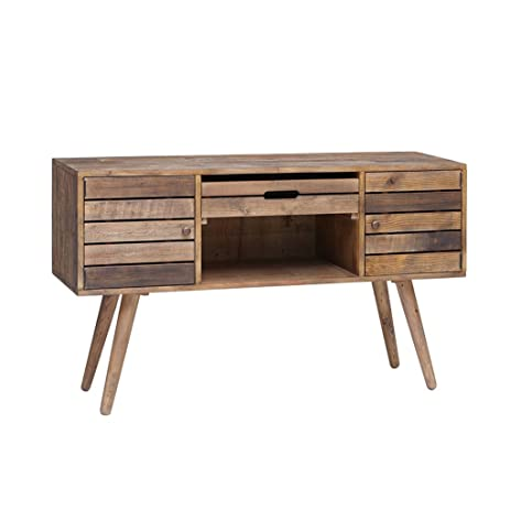 rustic mid century style reclaimed wood sideboard buffet credenza with removable serving tray includes modhaus