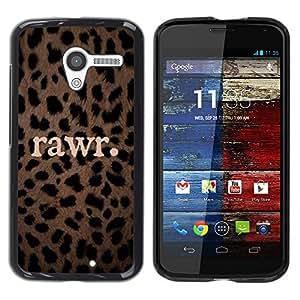 Rawr lindo patrón Leopard Animal texto - Metal de aluminio y de plástico duro Caja del teléfono - Negro - Motorola Moto X 1 1st GEN I