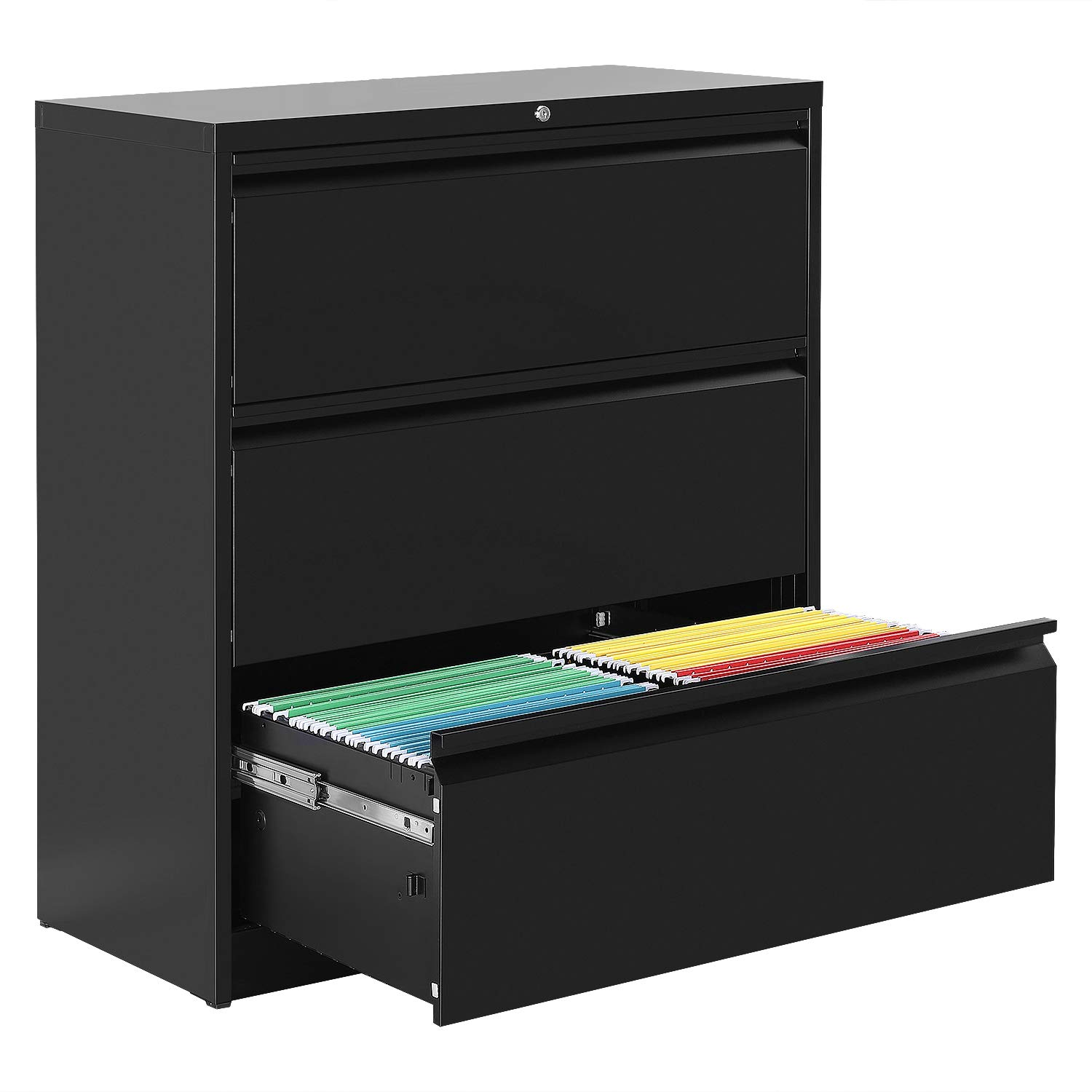 3 Drawers Black Lateral File Cabinet with Lock, Lockable Heavy Duty Filing Cabinet, Steel Construction