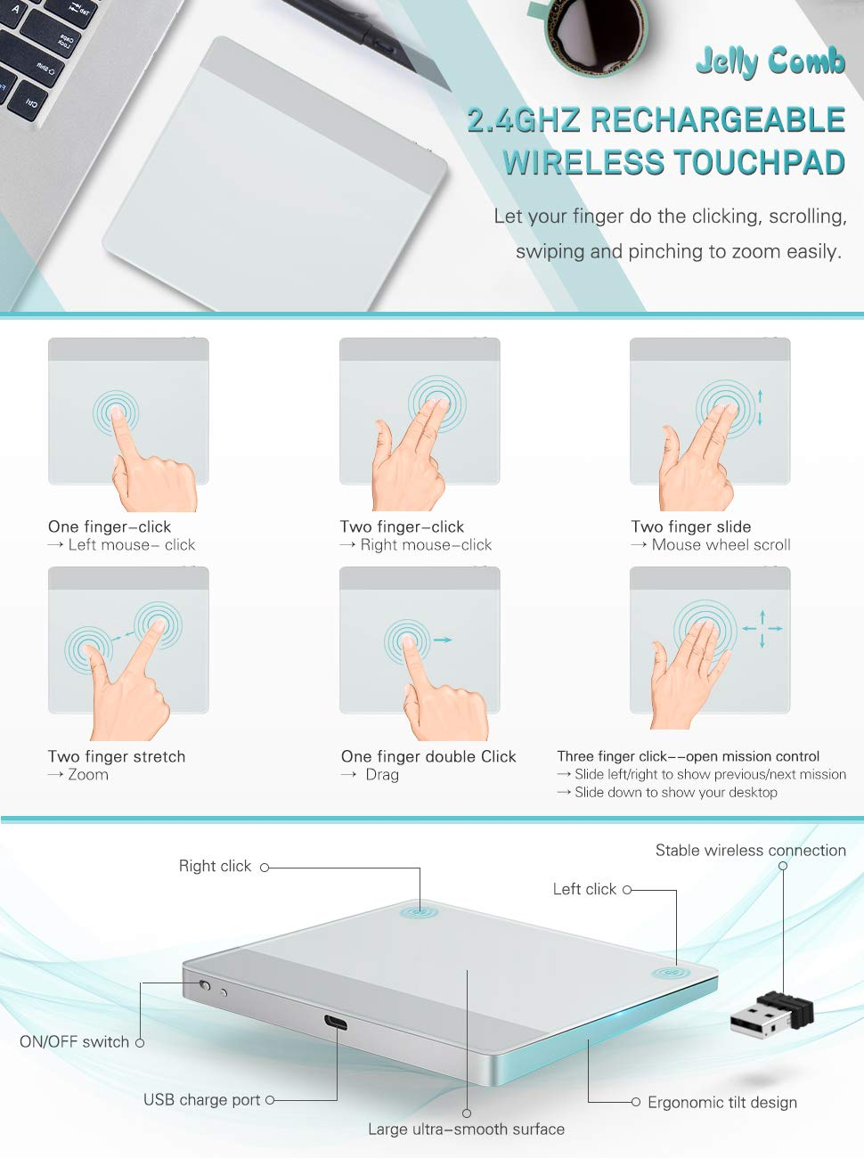 Wireless Trackpad, Jelly Comb 2 4GHz Rechargeable Touchpad