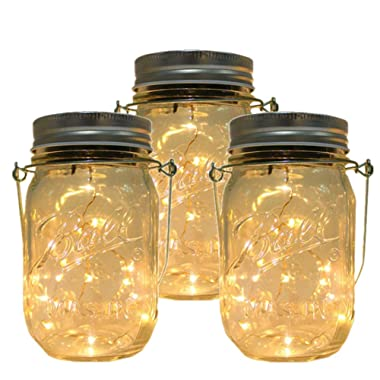 3-Pack Solar Powered Mason Jar Lights (Mason Jar & Handle Included) 10 LED Bulbs String Lights - Firefly Lights Mason Jar Decor Solar Light Hanging Lantern for Home, Garden, Patio Path (Warm white)