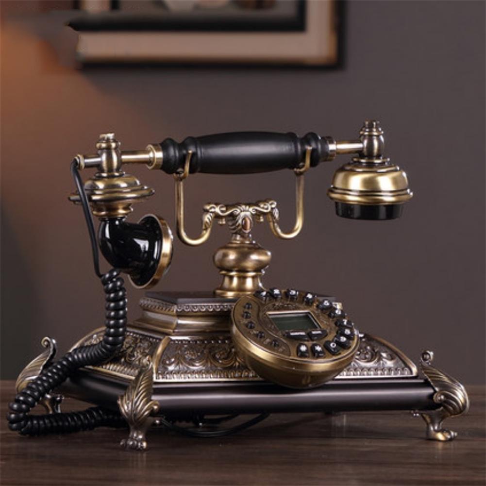 アメリカのアンティーク電話メタルウッドレトロなクリエイティブホーム固定固定電話 B07CBR6J3J