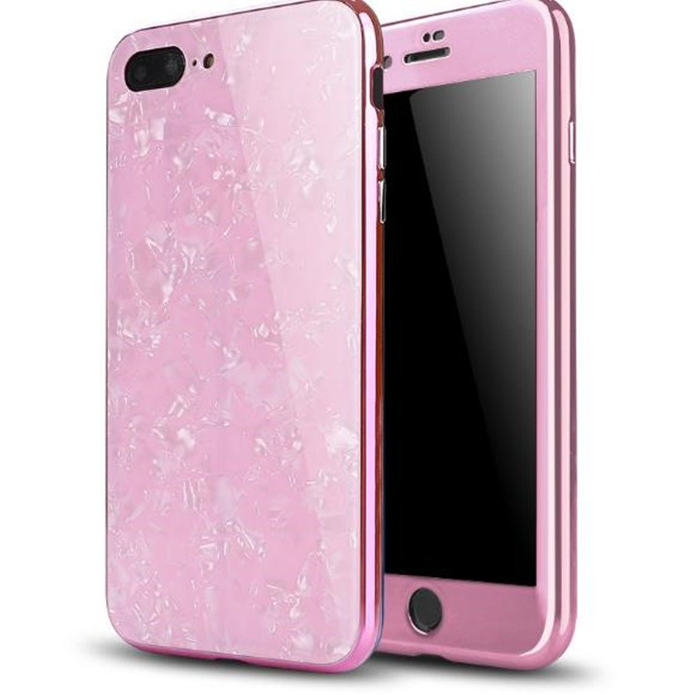 iPhone 8 Magnetic Absorption Shcokproof Case,Aulzaju iPhone 7 Full Body Front Back Cover with Tempered Glass Screen Protector Cover for iPhone 8/7 Beauty Mirror Shell Design-Pink