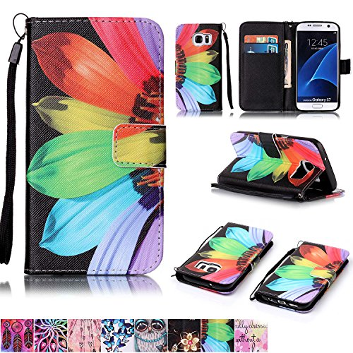 Galaxy S7 Case Firefish  Kickstand Feature  Drop Proof  Durable Leather Folio Style Wallet Case With Anti Scratch Protective Cover For Samsung Galaxy S7 Sunflower