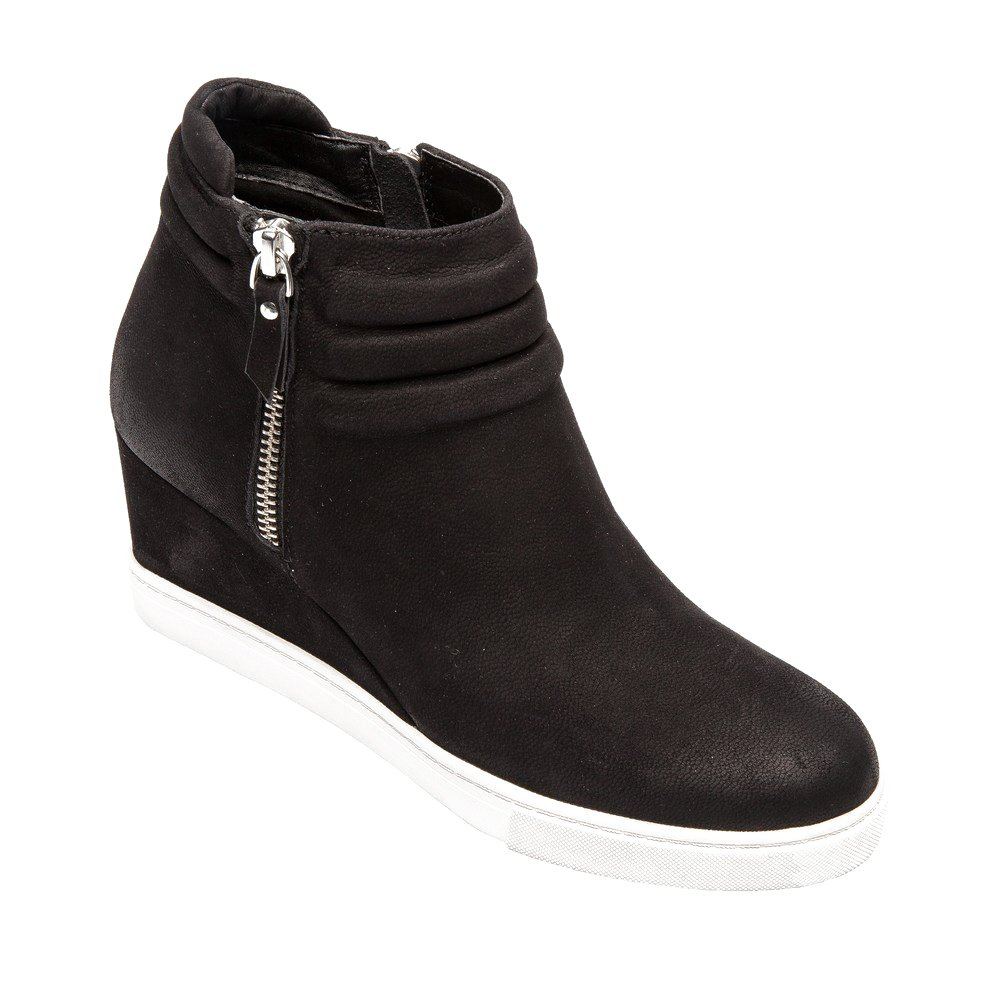 Frieda | Women's Platform Wedge Bootie Sneaker Leather or Suede B075THXX2M 7.5 M US|Black Leather