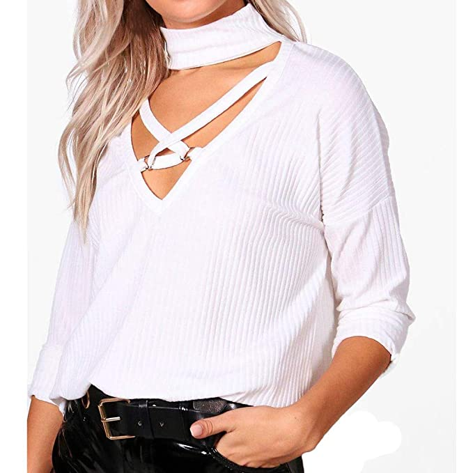 Luckycat Camisa de la Blusa con Cuello en V de Manga Larga para Mujer (Blanco