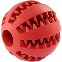 IQ Treat Ball for Dogs and Cats [Dental Treat][Anxiety Relief] Durable Non-Toxic Strong Tooth Cleaning Dog Feed Ball for Pet IQ Training/ Chewing/Playing, Dog Chew Toys (5cm, Red)