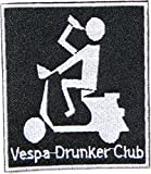 Vespa Drunker Club Lambretta Scooter Logo Sign Biker Racing Patch Iron on Applique Embroidered T shirt Jacket BY SURAPAN