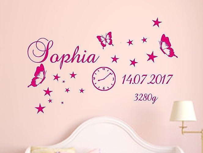 Wandtattoo Namen AA147 zur Geburt Baby Zimmer Uhr Datum Gewicht ...