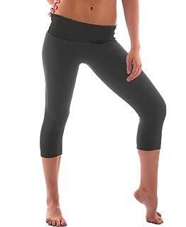 bbcf71a16e85c TheMogan Women's Fold Over Stretchy Crop Yoga Workout Legging Flare ...