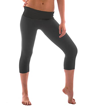 24d15f3415 Women's Slimming Foldover Capri Crop Yoga Pants,Charcoal/Charcoal,Small.  Roll over image to zoom in. Hollywood Star Fashion