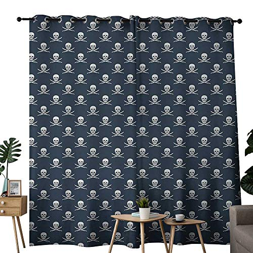 NUOMANAN Light Blocking Curtains Pirates,Jolly Roger Pattern in Classic Nautical Colors Dangerous Halloween Character,Dark Blue White,for Bedroom, Kitchen, Living Room 52