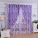 MaxFox Small Print Floral Voile Door Sheer Window Curtains,Room Divider Partition Wall Wearing Rod...