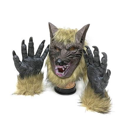 Tinksky Máscara Halloween de Látex Cabeza de Lobo y Garras para el Traje de Disfraces
