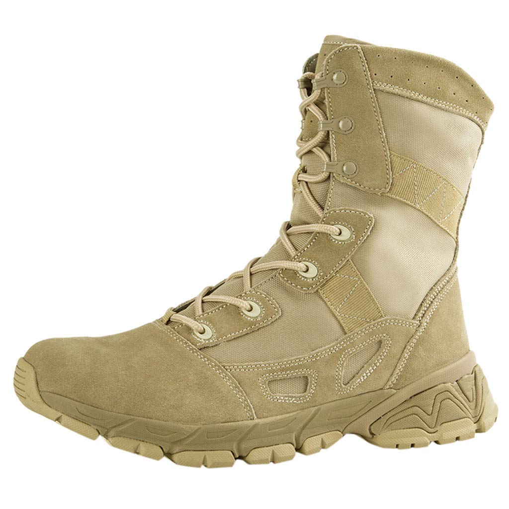 Fheaven Men's Combat Boots with Lace up Casual Outdoor Mountaineering Trekking Tactical Boots Beige by Fheaven-shoes