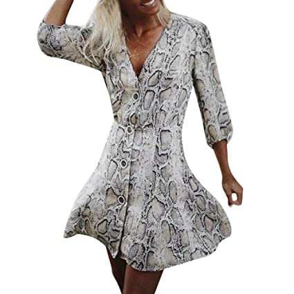 356585f0c27 Amazon.com  Women s Party Dresses Snakeskin Print Button Long Sleeve Mini  Dress Loose Casual Skirt V Neck Tops by BOLUBILUY  Sports   Outdoors