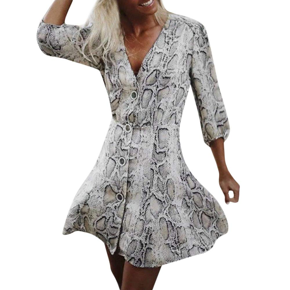 GIFC ▶Clearance Fashion Women Snakeskin Print Button V Neck Long Sleeve Mini Dress Party Dress for Ladies