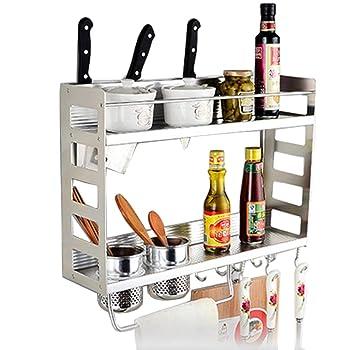 2-tier multiusos cocina rack de pared de aluminio montado en la pared para colgar estante, ...
