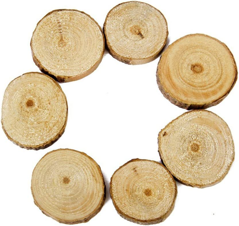 Tinksky Wood Slices Log Slices for DIY Crafts Wedding Centerpieces,100pcs