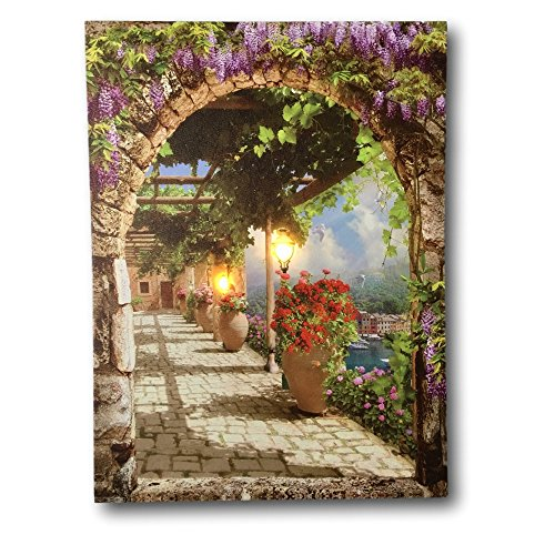 BANBERRY DESIGNS Garden Pathway Lighted Print - LED Canvas Print with a Flowery Path Way - Lantern Street Light Lights Up with 1 LED Bulb