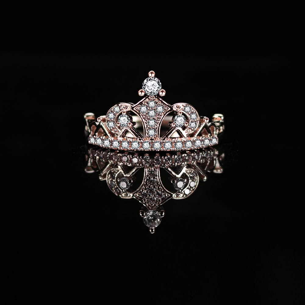 Similanka Womens Crown Tiara Rings Exquisite 18K Rose Gold Plated Princess Tiny CZ Diamond Accented Promise Rings