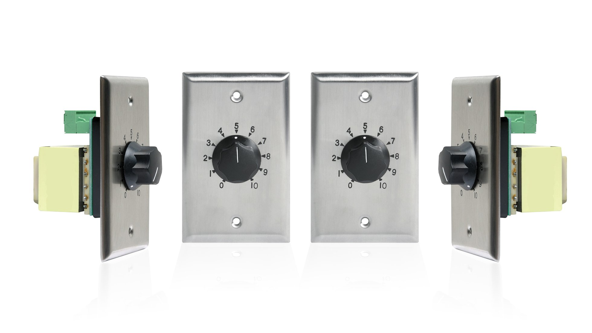 Atlas Sound AT Series 100 Watt 25/70 Volt Attenuators - Contractor Pack (4-Pack, Stainless Steel) by Atlas Sound (Image #1)
