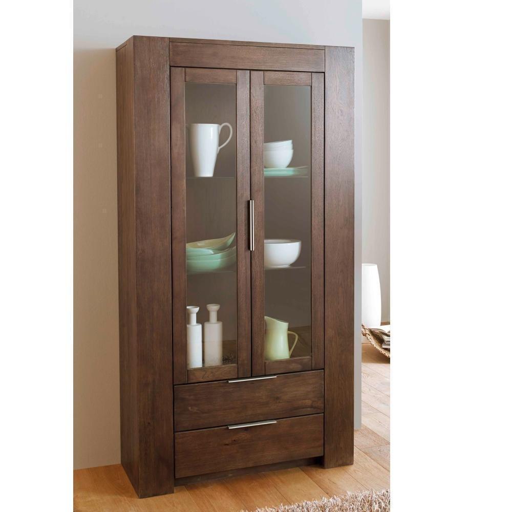 Vitrine Boston Henke Möbel Wildeiche geräuchert 2 Glastüren Holz Massivholz