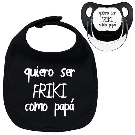 Pack chupete y babero negros Friki como papá, parodia bebé. Chupete negro. Babero negro. (Negro, 0-6 meses)