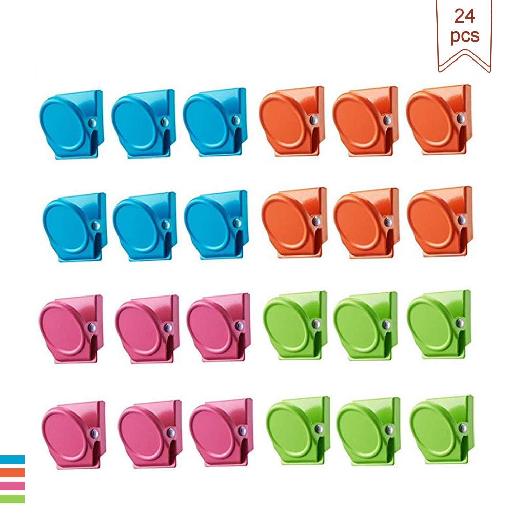 Muhubaih Magnetic Clips,24 Pieces Refrigerator Magnetic Hook Clips,Magnetic Memo Note Clip for Office,School,Home,Whiteboards,Photos.