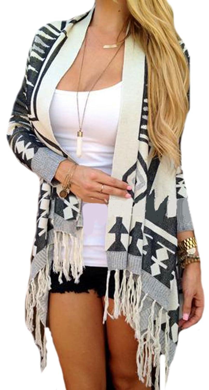 Unko Womens Vouge Irregular Tassel Trim Fall Cardiagns Sweaters