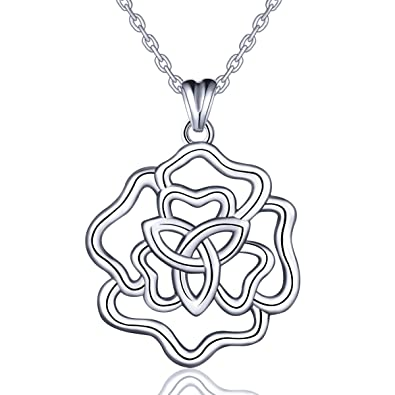 Silver Necklace, Celtic Knot 925 Sterling Silver Pendant for Women AEONSLOVE Irish Love Knot Necklace Chain 18'' with Gift Packed