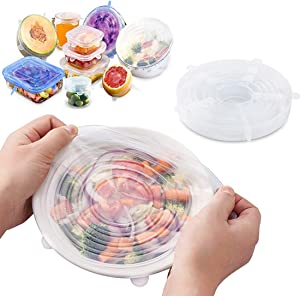 Silicone Stretch Lids, Reusable Plastic Wrap Alternative, 6-Pack Eco Friendly Food Storage Covers, Clear Color (White)