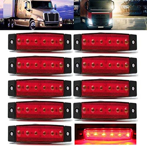 AUDEW 10 Pcs 3.8'' 6 LED Red Side Marker Trailer Marker Lights Rear Side Marker Lights Indicator Lights for Truck Bus Boat Cab Rv Lorrieds Jeep Suv