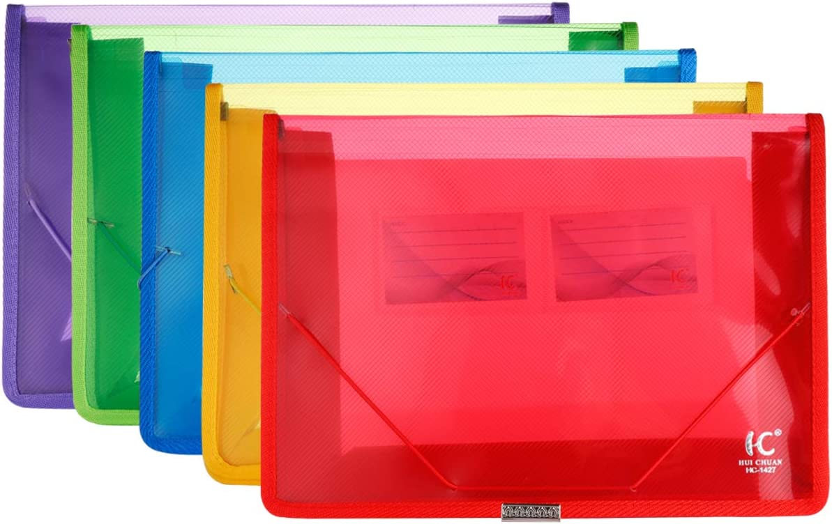 Eco-Friendly Plastic File Folders, Expandable Poly Envelope File Wallet File Document Folder with Elastic Cord Closure and Card Slot,Durable&Waterproof for Office Home School -5 Colors