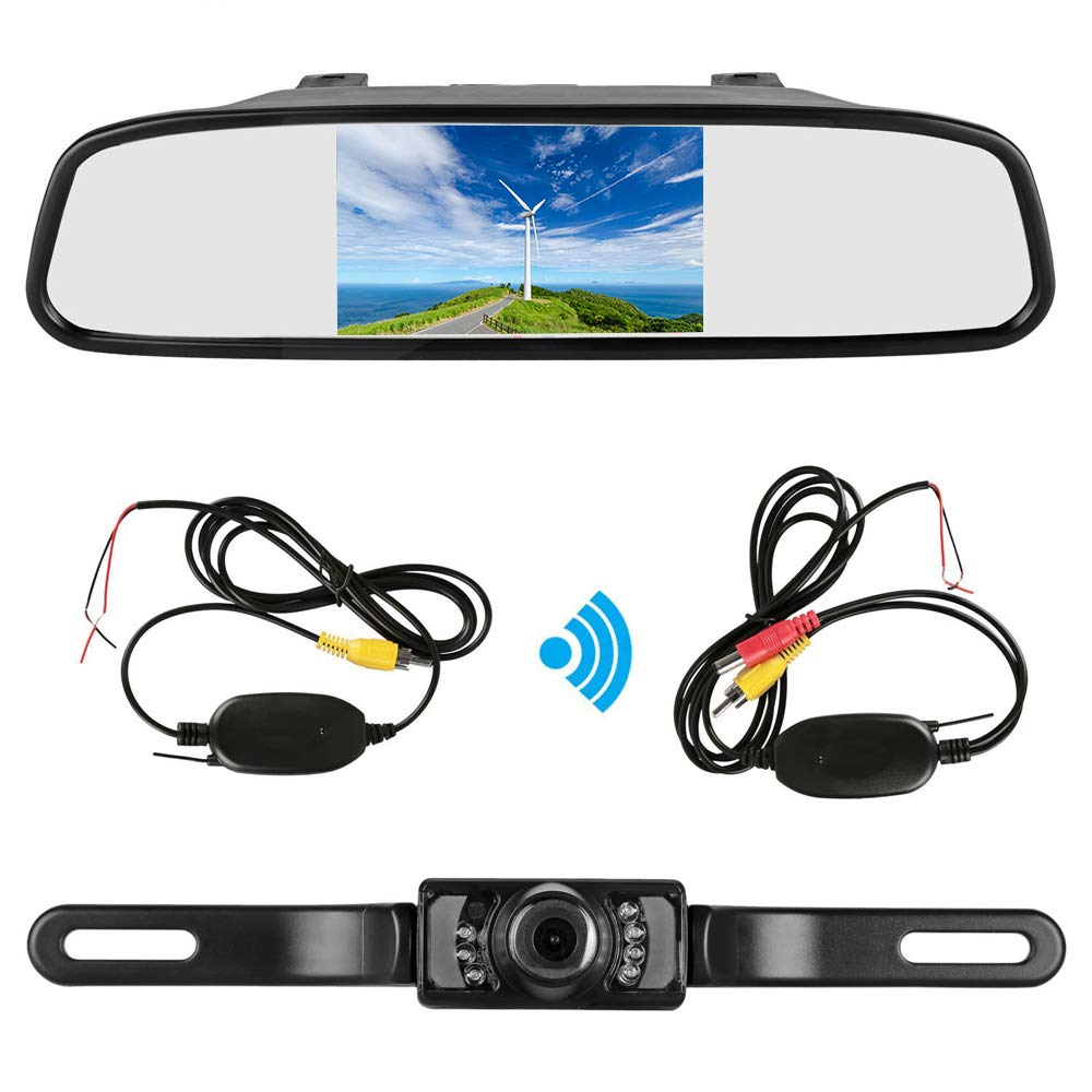 Podofo 4.3'' Car TFT LCD Mirror Monitor Wireless Reverse Car Rear View Backup Camera Kit (Black)