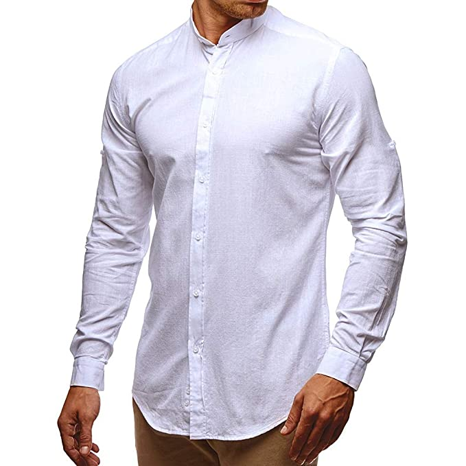 Moda Camisa para Hombre - Manga Larga Collar Abatible Slim Fit Shirt de Color Sólido Básica
