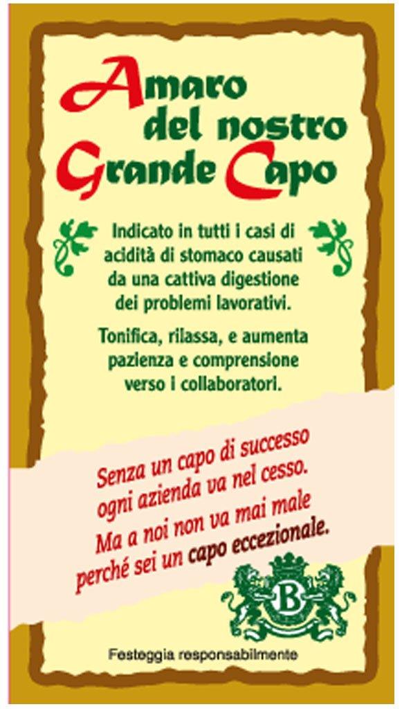 """Molto T-shirt in bottiglia """"Amaro del nostro grande Capo"""".: Amazon.it  FL87"""